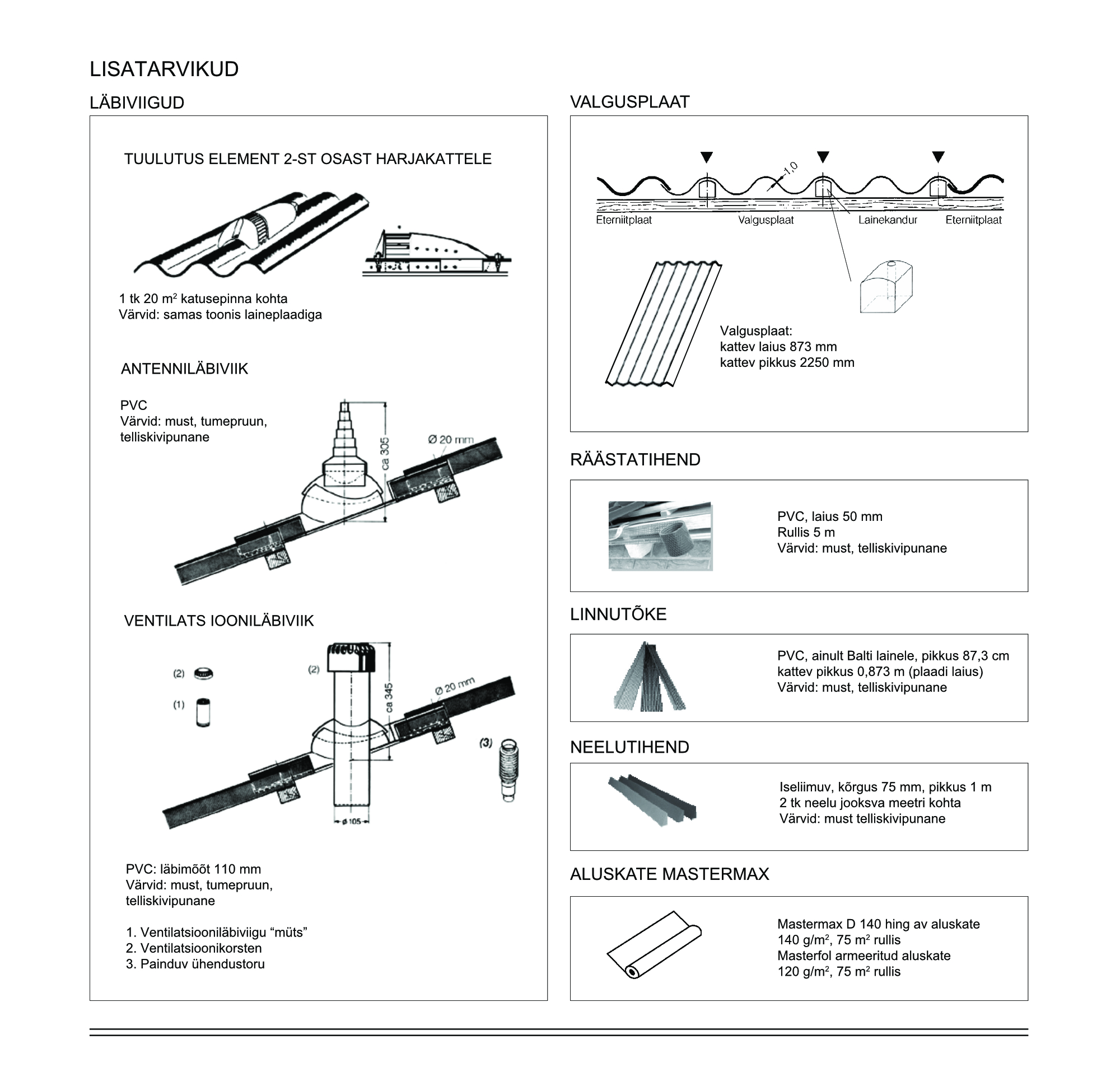 Eterniidi paigaldus - katusetööd- läbiviigud - valgusplaat - tihendid